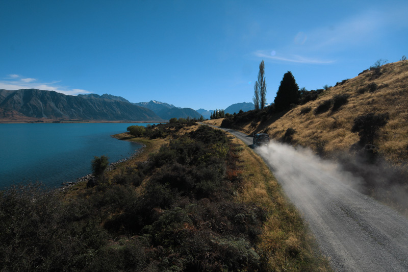 along the stunning lakes of New Zealand.